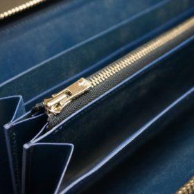 ロカド社製オイル仕上げコードバンのネイビー色のラウンドファスナー長財布(シルバー色)-1-9