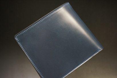 ロカド社製シェルコードバンのネイビー色の二つ折り財布(ゴールド色)-1-1
