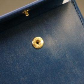 ロカド社製シェルコードバンのネイビー色の二つ折り財布(ゴールド色)-1-10