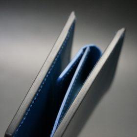 ロカド社製シェルコードバンのネイビー色の二つ折り財布(ゴールド色)-1-4