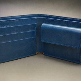 ロカド社製シェルコードバンのネイビー色の二つ折り財布(ゴールド色)-1-6