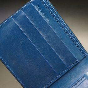 ロカド社製シェルコードバンのネイビー色の二つ折り財布(ゴールド色)-1-7