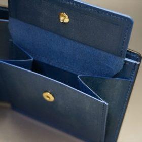 ロカド社製シェルコードバンのネイビー色の二つ折り財布(ゴールド色)-1-9