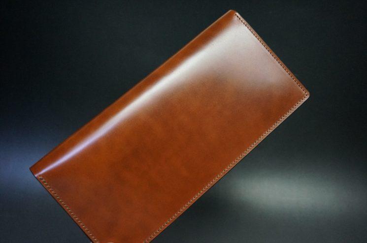 新喜皮革社製オイル仕上げコードバンのアンティーク色のスタンダード長財布(ゴールド色)-1-1