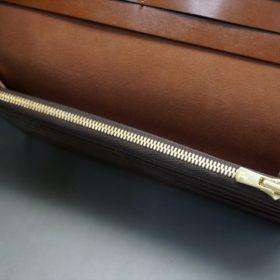 新喜皮革社製オイル仕上げコードバンのアンティーク色のスタンダード長財布(ゴールド色)-1-10