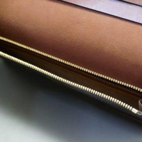新喜皮革社製オイル仕上げコードバンのアンティーク色のスタンダード長財布(ゴールド色)-1-11