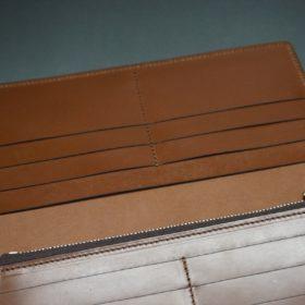 新喜皮革社製オイル仕上げコードバンのアンティーク色のスタンダード長財布(ゴールド色)-1-12