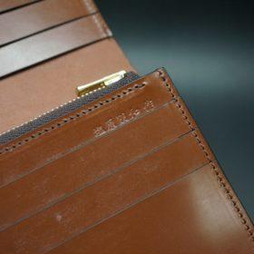 新喜皮革社製オイル仕上げコードバンのアンティーク色のスタンダード長財布(ゴールド色)-1-13