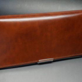 新喜皮革社製オイル仕上げコードバンのアンティーク色のスタンダード長財布(ゴールド色)-1-2