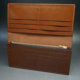新喜皮革社製オイル仕上げコードバンのアンティーク色のスタンダード長財布(ゴールド色)-1-9