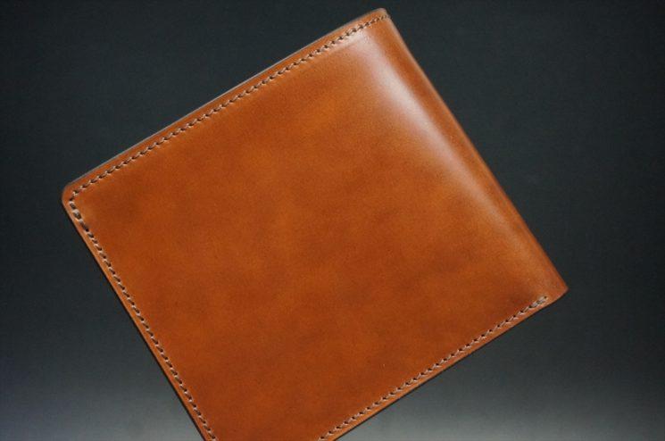 新喜皮革社製オイル仕上げコードバンのアンティーク色の二つ折り財布(ゴールド色)-1-1