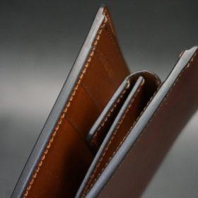 新喜皮革社製オイル仕上げコードバンのアンティーク色の二つ折り財布(ゴールド色)-1-4