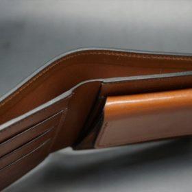 新喜皮革社製オイル仕上げコードバンのアンティーク色の二つ折り財布(ゴールド色)-1-5