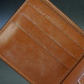 新喜皮革社製オイル仕上げコードバンのアンティーク色の二つ折り財布(ゴールド色)-1-7
