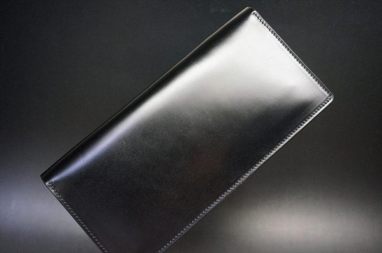 新喜皮革社製オイルコードバンのブラック色のスタンダード長財布(シルバー色)-1-1
