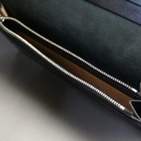 新喜皮革社製オイルコードバンのブラック色のスタンダード長財布(シルバー色)-1-11