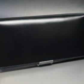 新喜皮革社製オイルコードバンのブラック色のスタンダード長財布(シルバー色)-1-2