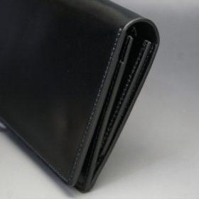 新喜皮革社製オイルコードバンのブラック色のスタンダード長財布(シルバー色)-1-3
