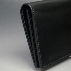 新喜皮革社製オイルコードバンのブラック色のスタンダード長財布(シルバー色)-1-4
