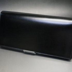 新喜皮革社製オイルコードバンのブラック色のスタンダード長財布(シルバー色)-1-5