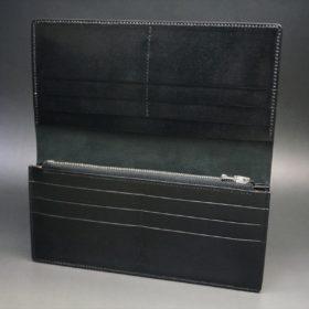 新喜皮革社製オイルコードバンのブラック色のスタンダード長財布(シルバー色)-1-8