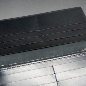 新喜皮革社製オイルコードバンのブラック色のスタンダード長財布(シルバー色)-1-9
