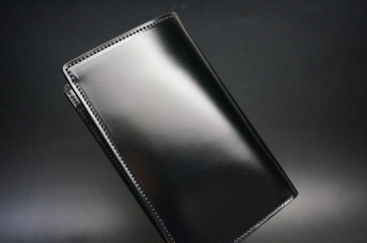 新喜皮革社製オイルコードバンのブラック色の縦長二つ折り財布(ゴールド色)-1-1