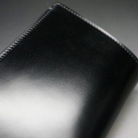 新喜皮革社製オイルコードバンのブラック色の縦長二つ折り財布(ゴールド色)-1-3