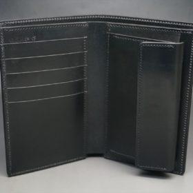 新喜皮革社製オイルコードバンのブラック色の縦長二つ折り財布(ゴールド色)-1-6