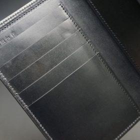 新喜皮革社製オイルコードバンのブラック色の縦長二つ折り財布(ゴールド色)-1-7