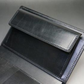 新喜皮革社製オイルコードバンのブラック色の縦長二つ折り財布(ゴールド色)-1-8