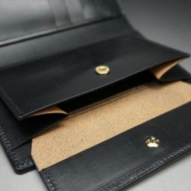 新喜皮革社製オイルコードバンのブラック色の縦長二つ折り財布(ゴールド色)-1-9