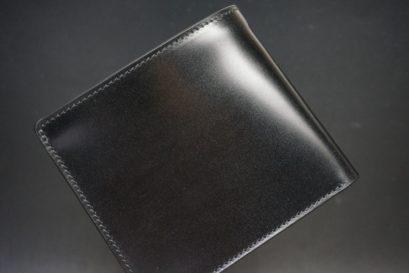 新喜皮革社製オイル仕上げコードバンのブラック色の二つ折り財布(ゴールド色)-1-1