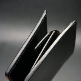 新喜皮革社製オイル仕上げコードバンのブラック色の二つ折り財布(ゴールド色)-1-3
