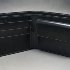 新喜皮革社製オイル仕上げコードバンのブラック色の二つ折り財布(ゴールド色)-1-5