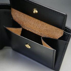 新喜皮革社製オイル仕上げコードバンのブラック色の二つ折り財布(ゴールド色)-1-8