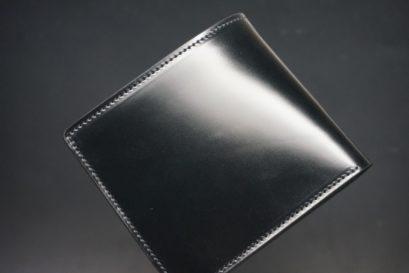 新喜皮革社製オイルコードバンのブラック色の二つ折り財布(小銭入れなしタイプ)-1-1