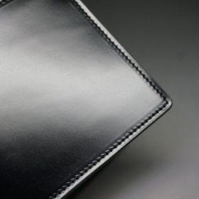 新喜皮革社製オイルコードバンのブラック色の二つ折り財布(小銭入れなしタイプ)-1-3