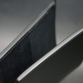 新喜皮革社製オイルコードバンのブラック色の二つ折り財布(小銭入れなしタイプ)-1-5