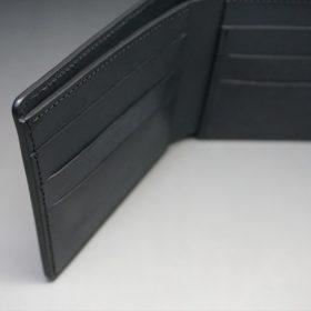 新喜皮革社製オイルコードバンのブラック色の二つ折り財布(小銭入れなしタイプ)-1-8
