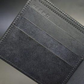 新喜皮革社製オイルコードバンのブラック色の二つ折り財布(小銭入れなしタイプ)-1-9