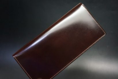 新喜皮革社製オイルコードバンのバーガンディ色のスタンダード長財布(ゴールド色)-1-1