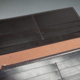 新喜皮革社製オイルコードバンのバーガンディ色のスタンダード長財布(ゴールド色)-1-10