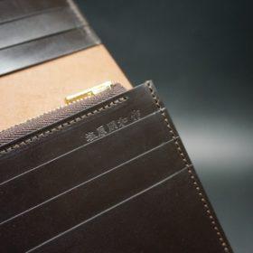 新喜皮革社製オイルコードバンのバーガンディ色のスタンダード長財布(ゴールド色)-1-11