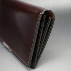 新喜皮革社製オイルコードバンのバーガンディ色のスタンダード長財布(ゴールド色)-1-3