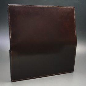 新喜皮革社製オイルコードバンのバーガンディ色のスタンダード長財布(ゴールド色)-1-6