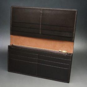 新喜皮革社製オイルコードバンのバーガンディ色のスタンダード長財布(ゴールド色)-1-7