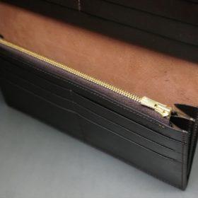 新喜皮革社製オイルコードバンのバーガンディ色のスタンダード長財布(ゴールド色)-1-8
