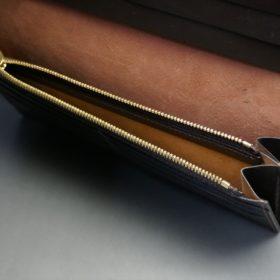 新喜皮革社製オイルコードバンのバーガンディ色のスタンダード長財布(ゴールド色)-1-9