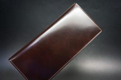 新喜皮革社製オイルコードバンのバーガンディ色のスタンダード長財布(小銭入れなしタイプ)-1-1